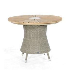 """SonnenPartner Tisch """"Base-Polyrattan"""", Ausführung stone-grey, mit Tischplatte Sun Teakholz Ø 100 cm"""