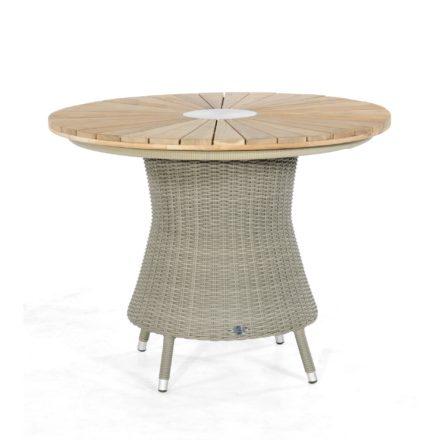 """SonnenPartner Tisch """"Base-Polyrattan"""", Ø 90 cm, Ausführung stone-grey, mit Tischplatte Sun Teakholz"""