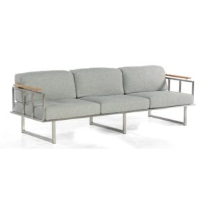 """SonnenPartner Lounge 3-Sitzer """"Lotus"""", Edelstahlrahmen mit Teakholzarm- und -rückenlehne, Stoff Olefin"""
