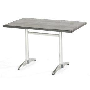 """SonnenPartner Tischgestell """"Korsika-Twin"""" Aluminium silber mit Tischplatte """"Lagos"""" Vintage Pinie 115x70 cm"""