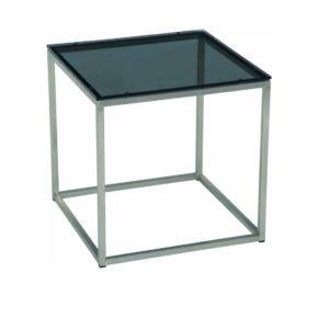 Stern Beistelltisch, Gestell Edelstahl, Tischplatte Glas schwarz