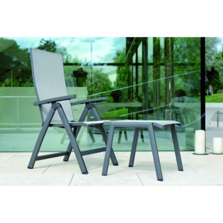 """Stern Gartenhocker """"Allround"""", Gestell Aluminium anthrazit, Textilgewebe silber"""