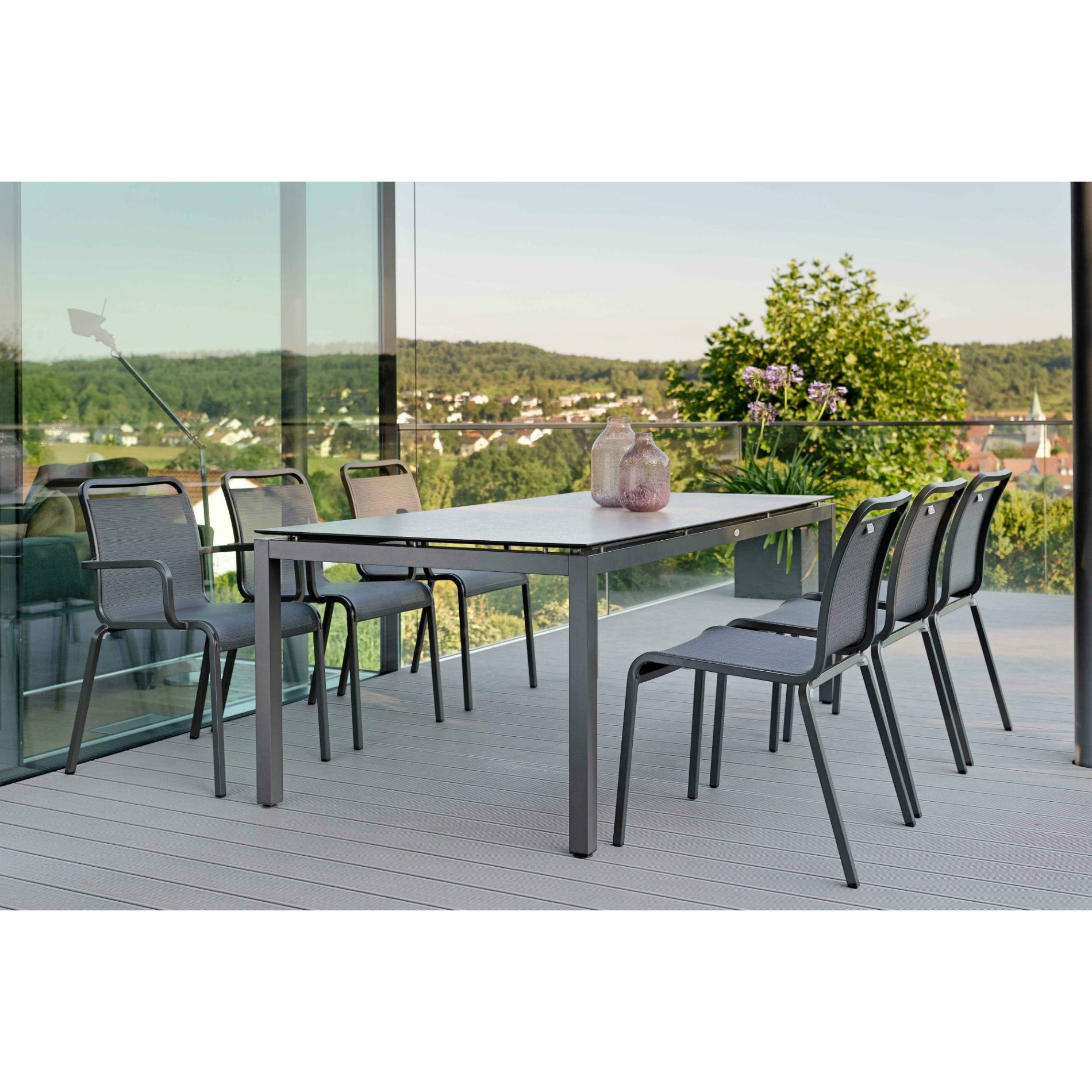stern gartenm bel set mit stuhl oskar und tisch aluminium anthrazit hpl zement hell. Black Bedroom Furniture Sets. Home Design Ideas