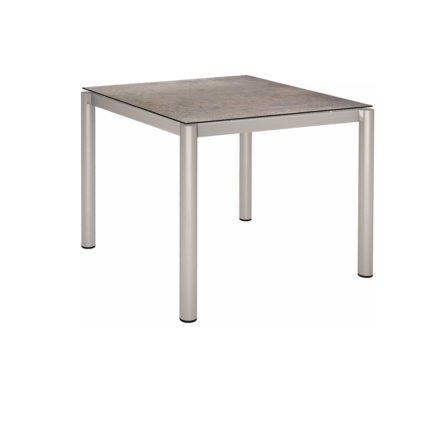 Stern Tischsystem, Gestell Edelstahl Rundrohr, Tischplatte HPL Smoky, 90x90 cm