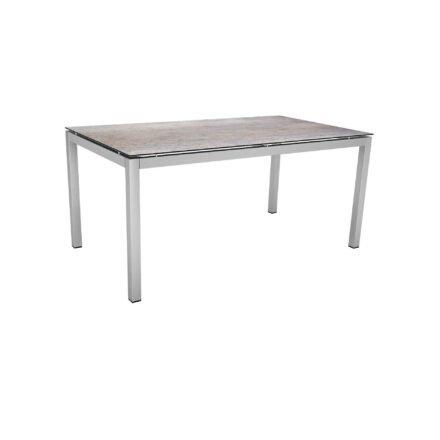 Stern Tischsystem, Gestell Edelstahl Vierkantrohr, Tischplatte HPL Smoky, 160x90 cm