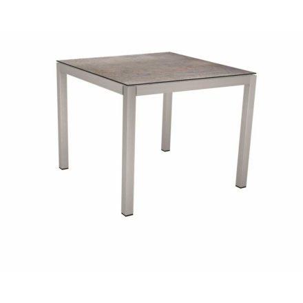 Stern Tischsystem, Gestell Edelstahl Vierkantrohr, Tischplatte HPL Smoky, 90x90 cm