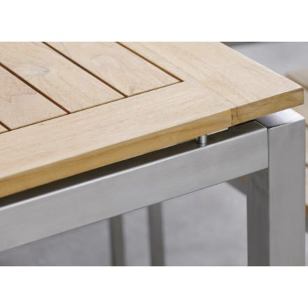 Stern Tischsystem, Gestell Edelstahl Vierkant, Tischplatte Teakholz