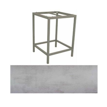 Stern Bartisch, Gestell Aluminium graphit, Tischplatte HPL Zement hell