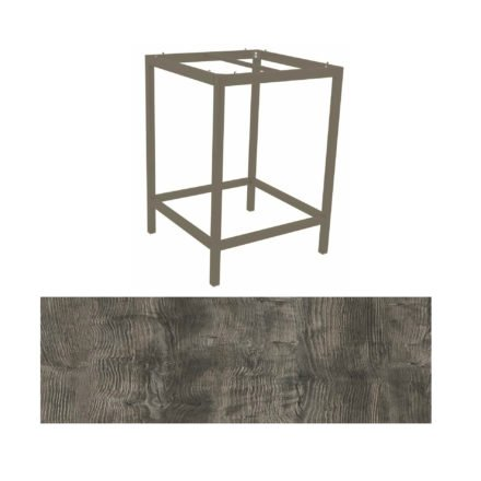 Stern Bartisch, Gestell Aluminium taupe, Tischplatte HPL Tundra grau