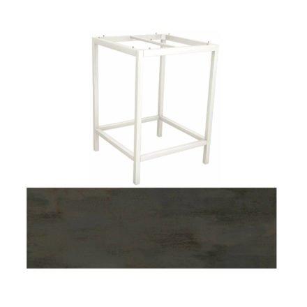 Stern Bartisch, Gestell Aluminium weiß, Tischplatte HPL Nitro