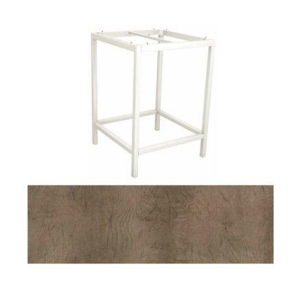 Stern Bartisch, Gestell Aluminium weiß, Tischplatte HPL Tundra braun