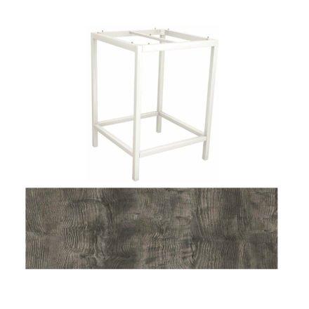Stern Bartisch, Gestell Aluminium weiß, Tischplatte HPL Tundra grau