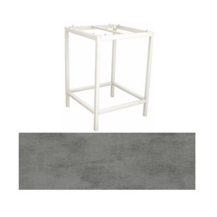 Stern Bartisch, Gestell Aluminium weiß, Tischplatte HPL Zement