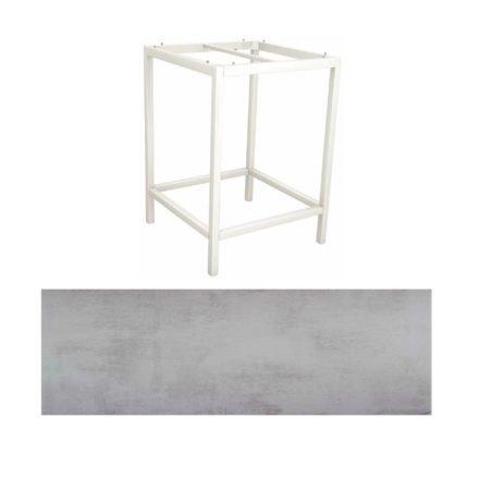 Stern Bartisch, Gestell Aluminium weiß, Tischplatte HPL Zement hell