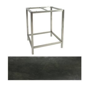 Stern Bartisch, Gestell Edelstahl, Tischplatte HPL Dark Marble