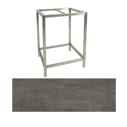 Stern Bartisch, Gestell Edelstahl, Tischplatte HPL Metallic Grau