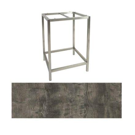 Stern Bartisch, Gestell Edelstahl, Tischplatte HPL Tundra grau