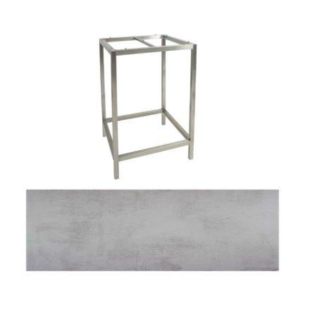 Stern Bartisch, Gestell Edelstahl, Tischplatte HPL Zement hell