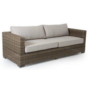 "Brafab ""Ninja"" 3-Sitzer Sofa, Gestell Aluminium, Polyrattangeflecht Rustikal halbrund, Sitz-und Rückenkissen Olefin beige"