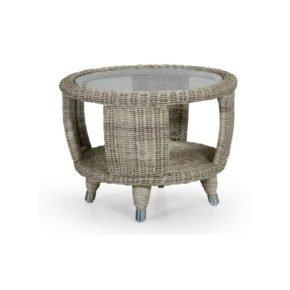 """Brafab """"Silva"""" Beistelltisch, Gestell Aluminium, Polyrattan-Geflecht beige, inklusive Glas-Tischplatte"""