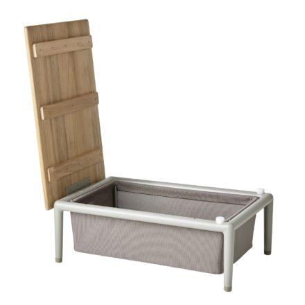 "Cane-line ""Conic"" Loungetisch mit Box, Aluminium taupe, Textilgewebe braun"