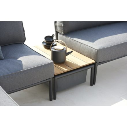 "Cane-line ""Conic"" Loungetisch mit Box, Aluminium lavagrau, Textilgewebe grau"