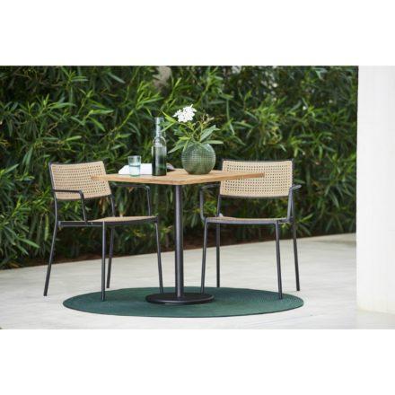 """Cane-line Gartenstuhl """"Less"""", Aluminium lavagrau, Geflecht natur mit Bistrotisch """"Go"""" und Outdoor-Teppich """"Infinity"""" rund, grün"""