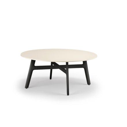 "DEDON Couchtisch ""SeaX"", Aluminiumgestell schwarz, Tischplatte Lapitec® Porzellan weiss"