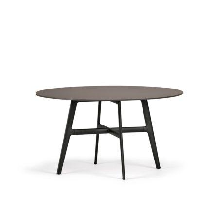 "DEDON Esstisch Ø 140 cm ""SeaX"", Aluminiumgestell schwarz, Tischplatte Lapitec® Porzellan ebony"
