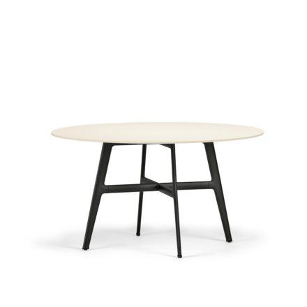 "DEDON Esstisch Ø 140 cm ""SeaX"", Aluminiumgestell schwarz, Tischplatte Lapitec® Porzellan weiss"