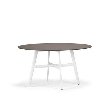 "DEDON Esstisch Ø 140 cm ""SeaX"", Aluminiumgestell weiss, Tischplatte Lapitec® Porzellan ebony"