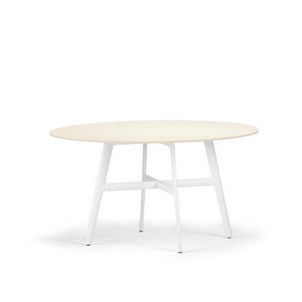 """DEDON Esstisch Ø 140 cm """"SeaX"""", Aluminiumgestell weiss, Tischplatte Lapitec® Porzellan weiss"""