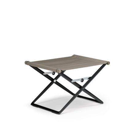 "DEDON Hocker ""SeaX"", Gestell Aluminium schwarz, Bezug: Textilbespannung sail taupe"
