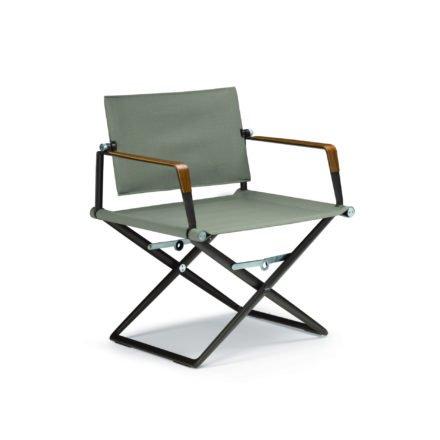"""DEDON Loungechair """"SeaX"""", Gestell Aluminium black pepper, Bezug: Textilbespannung sail taupe, Armlehnen mit Teakholzbeschichtung"""