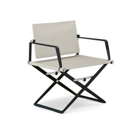 """DEDON Loungechair """"SeaX"""", Gestell Aluminium schwarz, Bezug: Textilbespannung sail dove"""