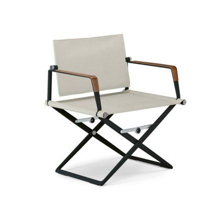 """DEDON Loungechair """"SeaX"""", Gestell Aluminium schwarz, Bezug: Textilbespannung sail dove, Armlehnen mit Teakholzbeschichtung"""