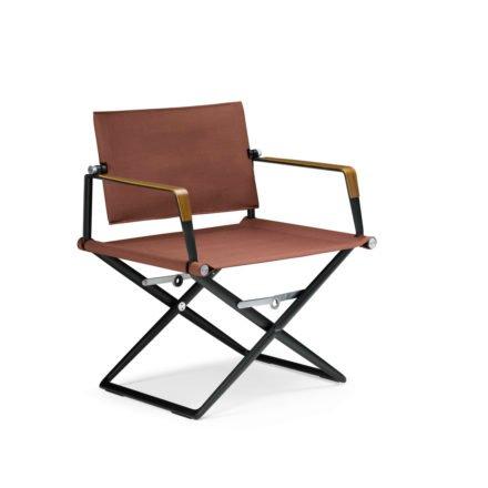 "DEDON Loungechair ""SeaX"", Gestell Aluminium schwarz, Bezug: Textilbespannung sail elemental dark, Armlehnen mit Teakholzbeschichtung"