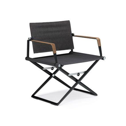 """DEDON Loungechair """"SeaX"""", Gestell Aluminium schwarz, Bezug: Textilbespannung sail shade, Armlehnen mit Teakholzbeschichtung"""