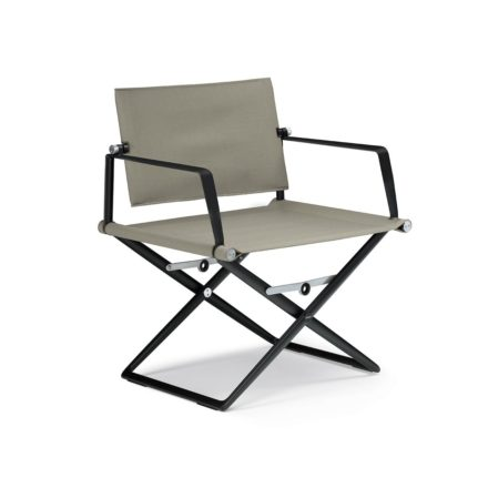 """DEDON Loungechair """"SeaX"""", Gestell Aluminium schwarz, Bezug: Textilbespannung sail taupe"""