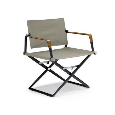 """DEDON Loungechair """"SeaX"""", Gestell Aluminium schwarz, Bezug: Textilbespannung sail taupe, Armlehnen mit Teakholzbeschichtung"""