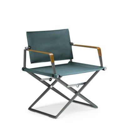 """DEDON Loungechair """"SeaX"""", Gestell Aluminium nori, Bezug: Textilbespannung sail petrol dark, Armlehnen mit Teakholzbeschichtung"""