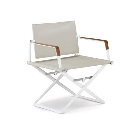 """DEDON Loungechair """"SeaX"""", Gestell Aluminium weiß, Bezug: Textilbespannung sail dove, Armlehnen mit Teakholzbeschichtung"""
