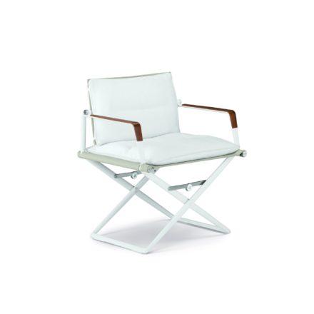 """DEDON Loungechair """"SeaX"""", Gestell Aluminium weiß, Bezug: Textilbespannung sail dove, Armlehnen mit Teakholzbeschichtung, mit Sitz- und Rückenpolster"""
