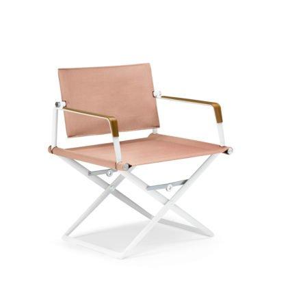 """DEDON Loungechair """"SeaX"""", Gestell Aluminium weiß, Bezug: Textilbespannung sail elemental light, Armlehnen mit Teakholzbeschichtung"""