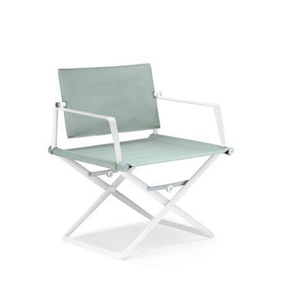 """DEDON Loungechair """"SeaX"""", Gestell Aluminium weiß, Bezug: Textilbespannung sail petrol light"""