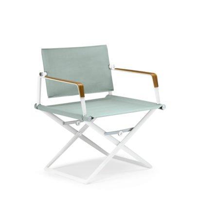 """DEDON Loungechair """"SeaX"""", Gestell Aluminium weiß, Bezug: Textilbespannung sail petrol light, Armlehnen mit Teakholzbeschichtung"""
