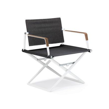"""DEDON Loungechair """"SeaX"""", Gestell Aluminium weiß, Bezug: Textilbespannung sail shade, Armlehnen mit Teakholzbeschichtung"""