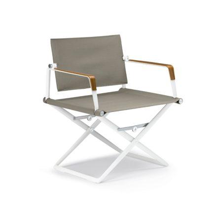 """DEDON Loungechair """"SeaX"""", Gestell Aluminium weiß, Bezug: Textilbespannung sail taupe, Armlehnen mit Teakholzbeschichtung"""