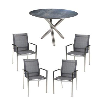 """Diamond Garden Gartenmöbel-Set mit Gartenstuhl """"Gaco"""" und Tisch """"San Marino"""" Ø 120 cm, Edelstahl, HPL Anthrazit Titan"""