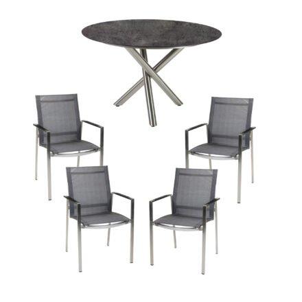 """Diamond Garden Gartenmöbel-Set mit Gartenstuhl """"Gaco"""" und Tisch """"San Marino"""" Ø 120 cm, Edelstahl, HPL Beton Dunkel"""